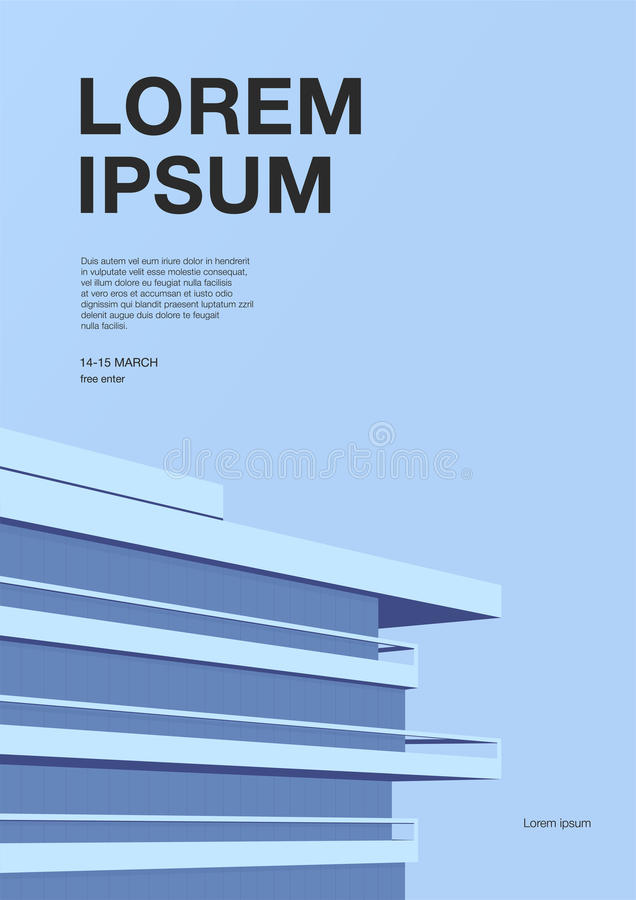 Advertising poster with abstract architecture. Blue background with skyscraper roof. Vertical placard with place for royalty free illustration