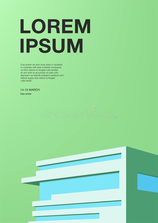 Advertising poster with abstract architecture. Green background with building. Vertical placard with place for text stock illustration