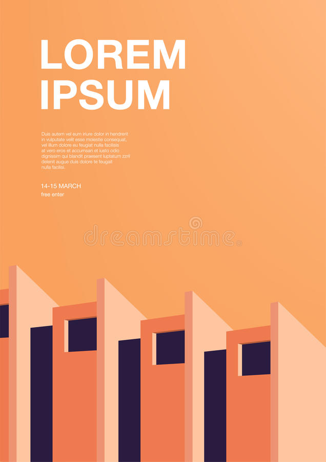 Advertising poster with abstract architecture. Orange vertical placard with place for text. Colorful vector background stock illustration