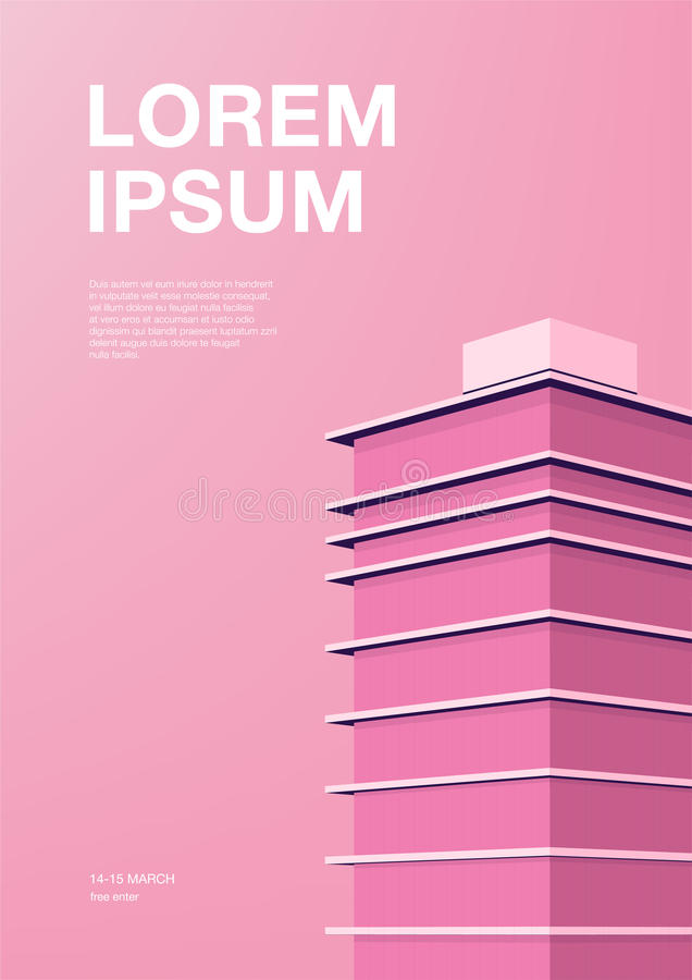 Advertising poster with abstract architecture. Pink background with skyscraper. Vertical placard with place for text vector illustration