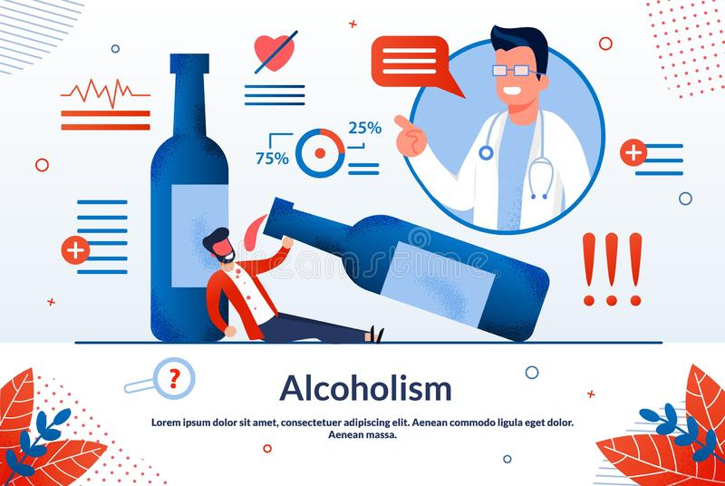 Advertising Poster Alcoholism Lettering Cartoon. Research to Detect Diseases in Early Stages. Man is Abusing Alcohol, Lying on Floor Next to Large Bottle Wine stock illustration