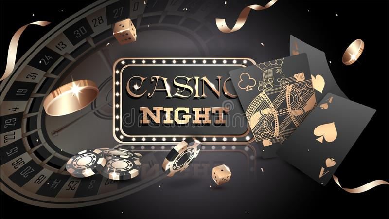 Advertising poster design, Casino Night text with casino chips, coins and playing cards. royalty free illustration