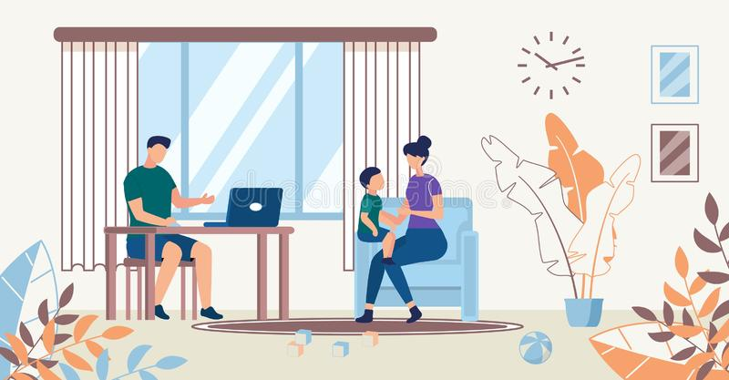 Advertising Poster. Family Spend Time Together. Happy Joyful Woman is Sitting on Armchair. Mom Plays with Baby. Man Sits at Computer. Spacious Bright Room with royalty free illustration