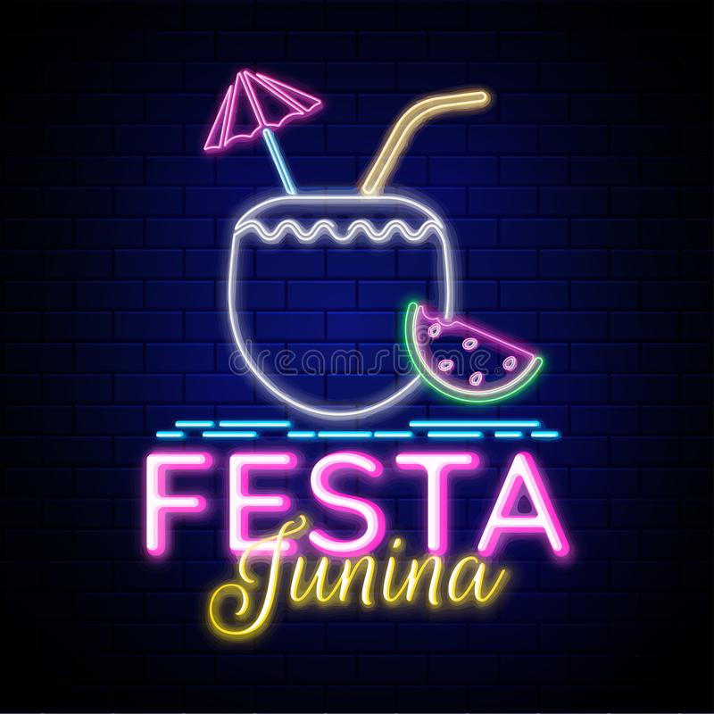 Advertising poster or flyer design, Neon effect text Festa Junina with coconut drink element. vector illustration