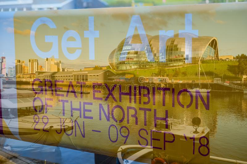 Advertising poster of the Great Exhibition of the North at Gates stock photography