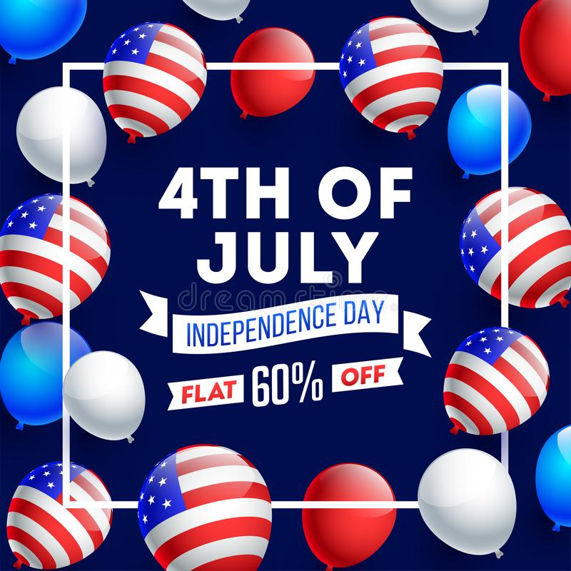 Advertising poster or template design decorated with American Flag color balloons for 4th of July stock illustration