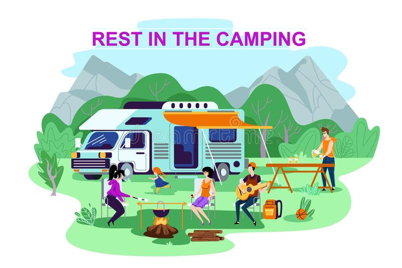 Advertising Poster is Written Rest in the Camping. Parents with Children Arrived in Camper Van. People Cook Food in Nature Using Fire. Baby Running and Having royalty free illustration