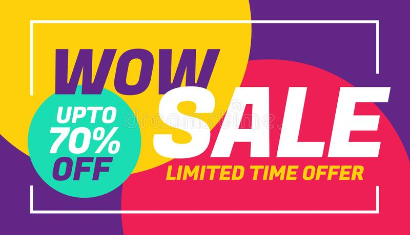 Advertising sale banner design with colorful background royalty free illustration