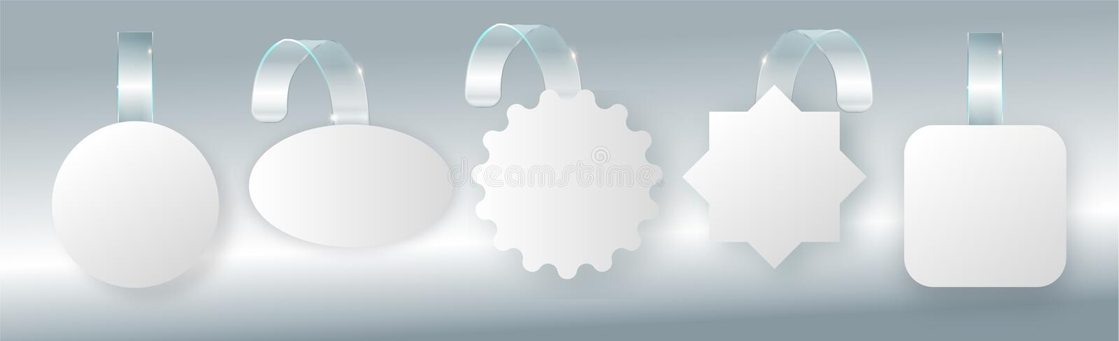 Advertising sale wobbler on bended transparent stripe. White round point tag for supermarket sales wobblers on store stock illustration