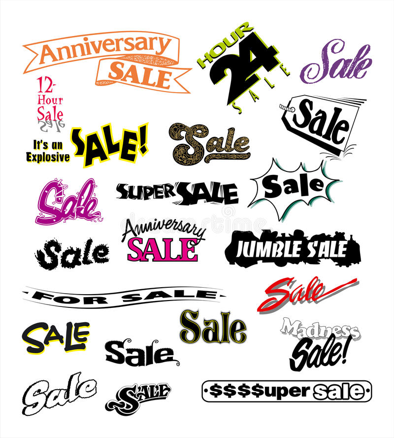 Advertising Sales Promotions 3. A variety of signs for Advertising, Sales and Promotions stock illustration