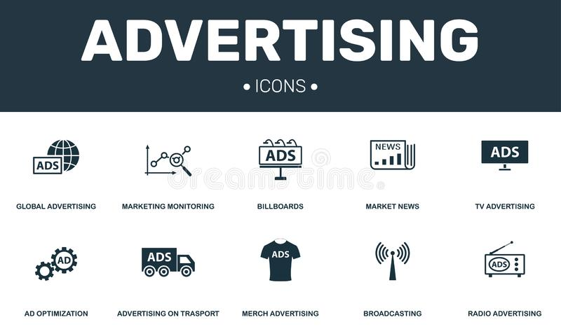 Advertising set icons collection. Includes simple elements such as Marketing, Billboards, Merch, Ad Optimization premium vector illustration