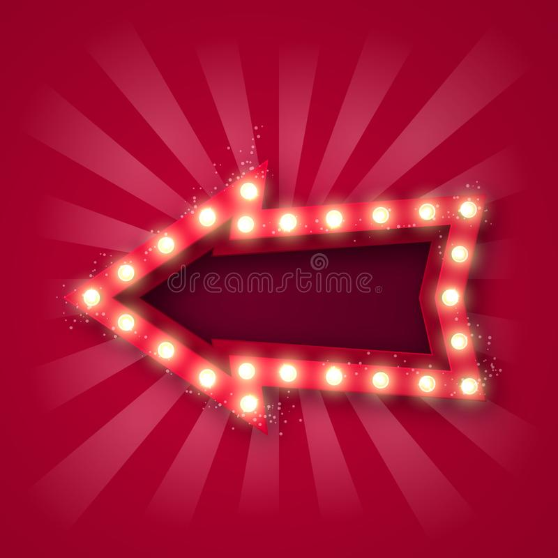 Advertising signboard for attracting customers. Arrow pointer with bulbs along the contour, in red-white rays and with sequins. On. A pink background. 10 eps vector illustration