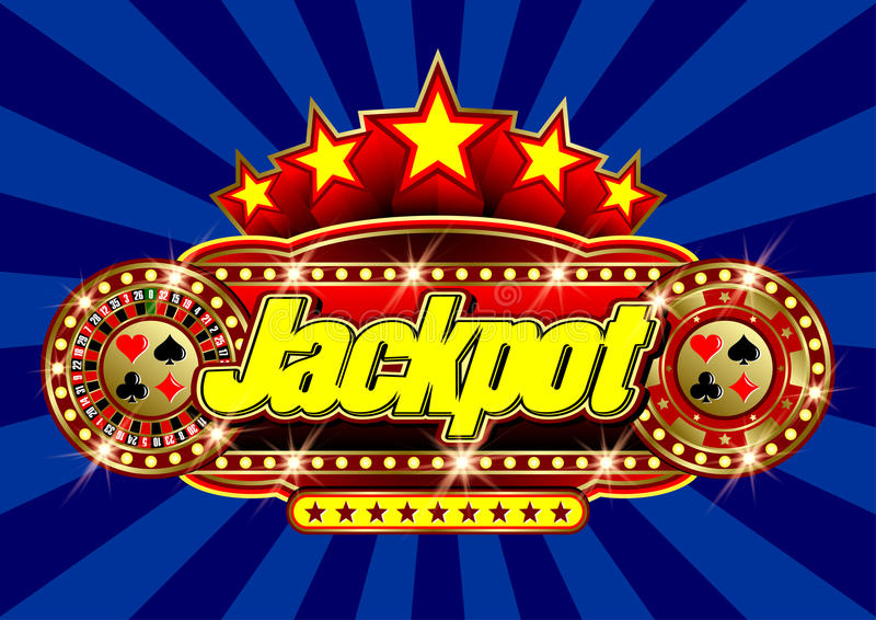 Advertising signboard Casino - Jackpot in vector. Advertising signboard Casino in vector: word Jackpot, roulette, casino token chips, card suits, stars and flare vector illustration