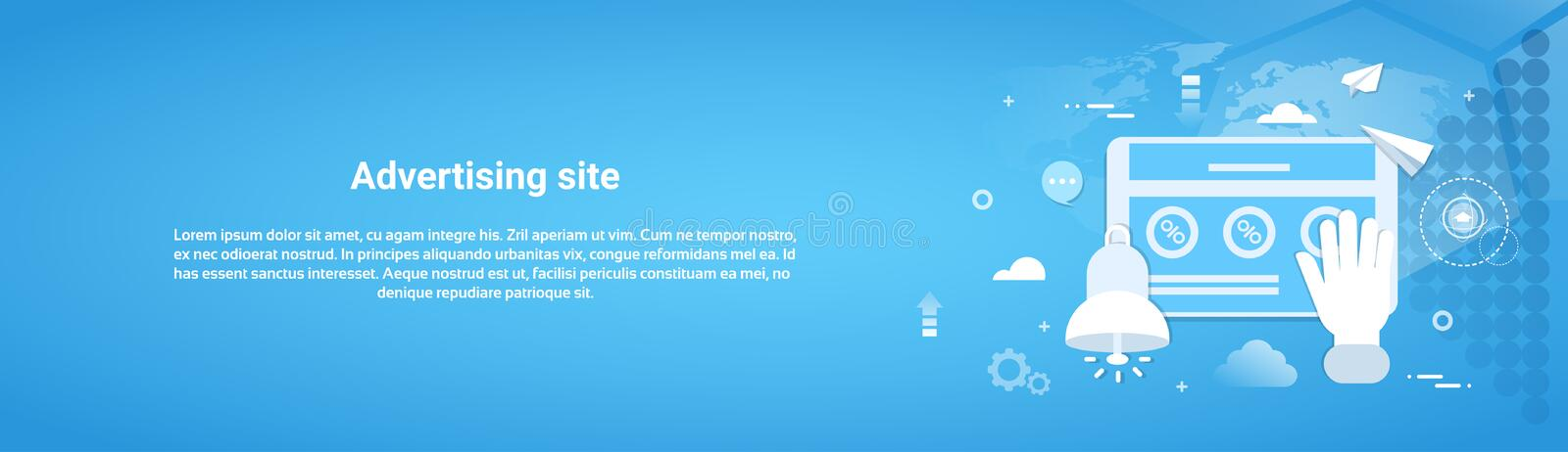 Advertising Site Business Concept Horizontal Web Banner. With Copy Space Flat Vector Illustration vector illustration
