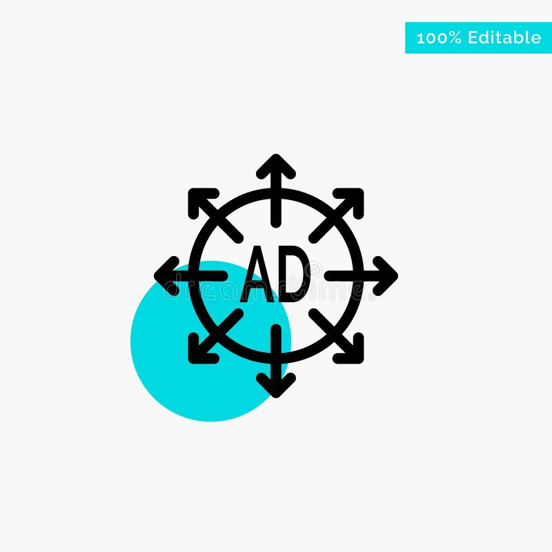 Advertising, Submission, Advertising Submission, Ad turquoise highlight circle point Vector icon vector illustration