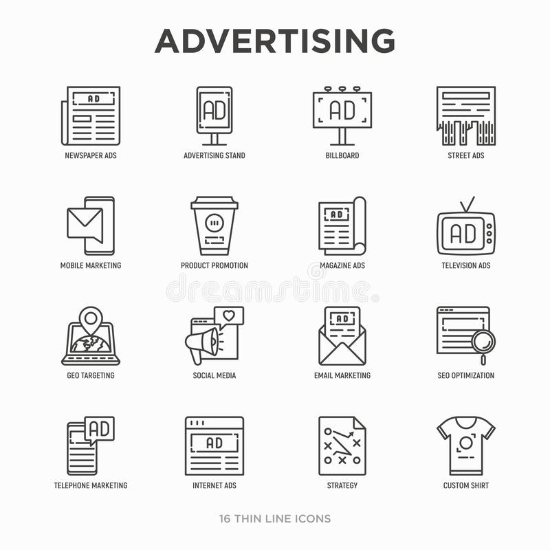 Advertising thin line icons set: billboard, street ads, newspaper, magazine, product promotion, email, GEO targeting, social media vector illustration