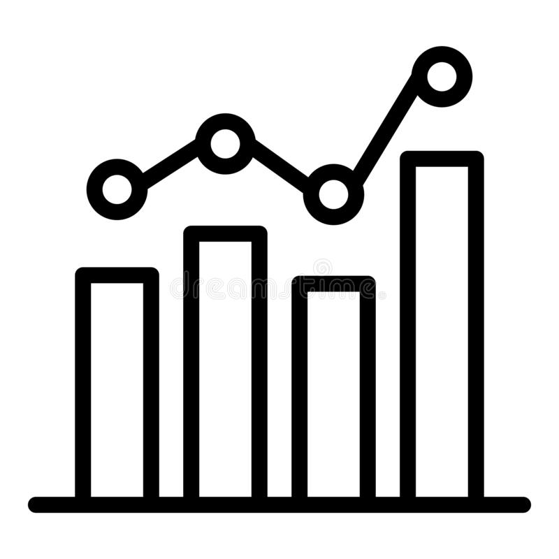 Advertising viewing chart icon, outline style. Advertising viewing chart icon. Outline advertising viewing chart vector icon for web design isolated on white royalty free illustration