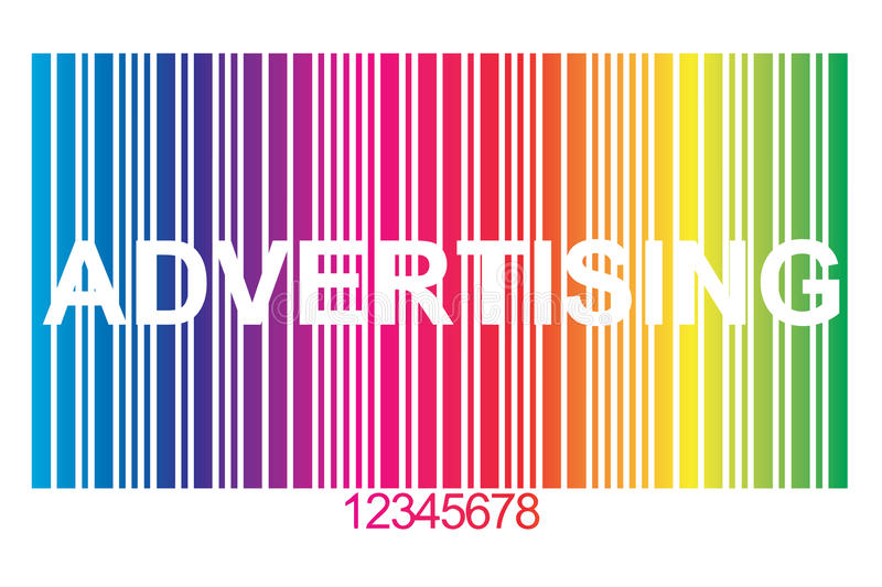 Advertising. In white block letters embedded in colorful barcode with red numbers royalty free illustration