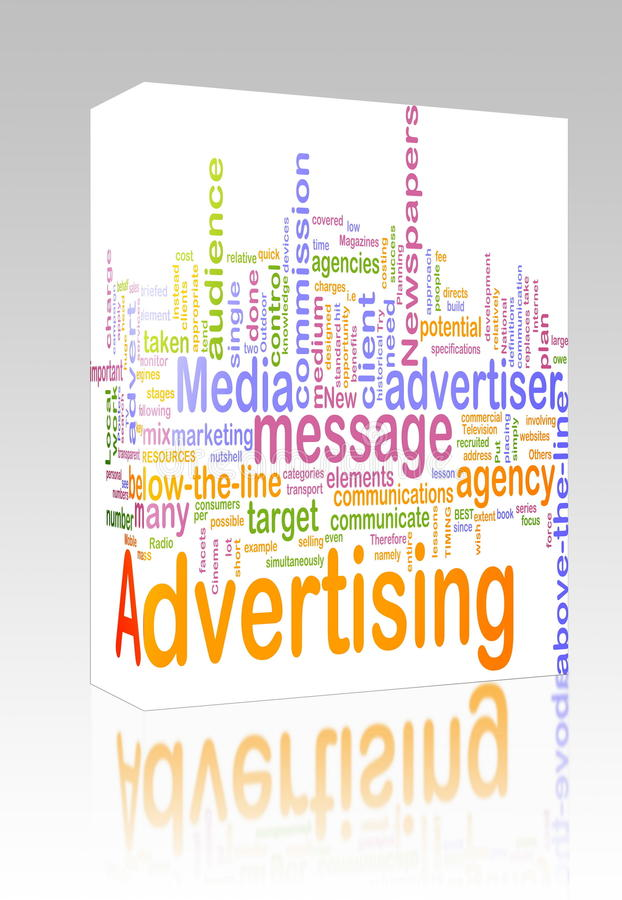 Advertising word cloud box package. Software package box Word cloud concept illustration of advertising marketing royalty free illustration