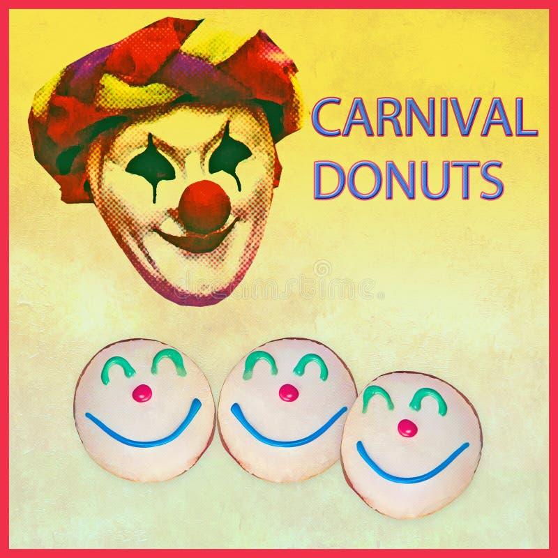 Advertizing för karnevaldonutsbaner med effekt för grungeundtappning stock illustrationer