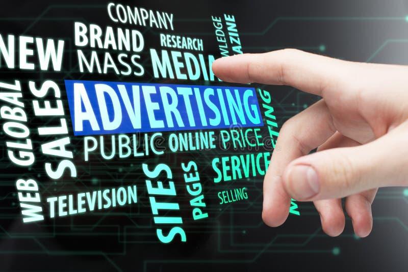 Advertizing, massmedia och företagsbegrepp royaltyfri bild