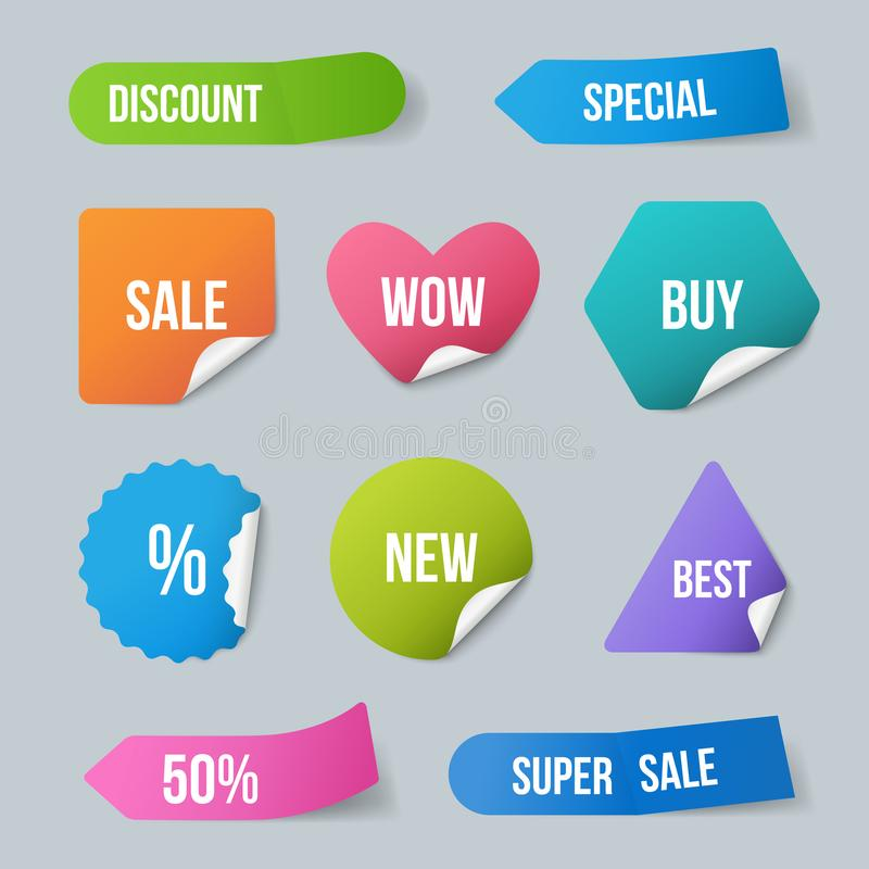 Advertizing stickers. Sale promo labels for new products badges from paper with curled corners and realistic shadows. Vector template. Illustration of sticker vector illustration