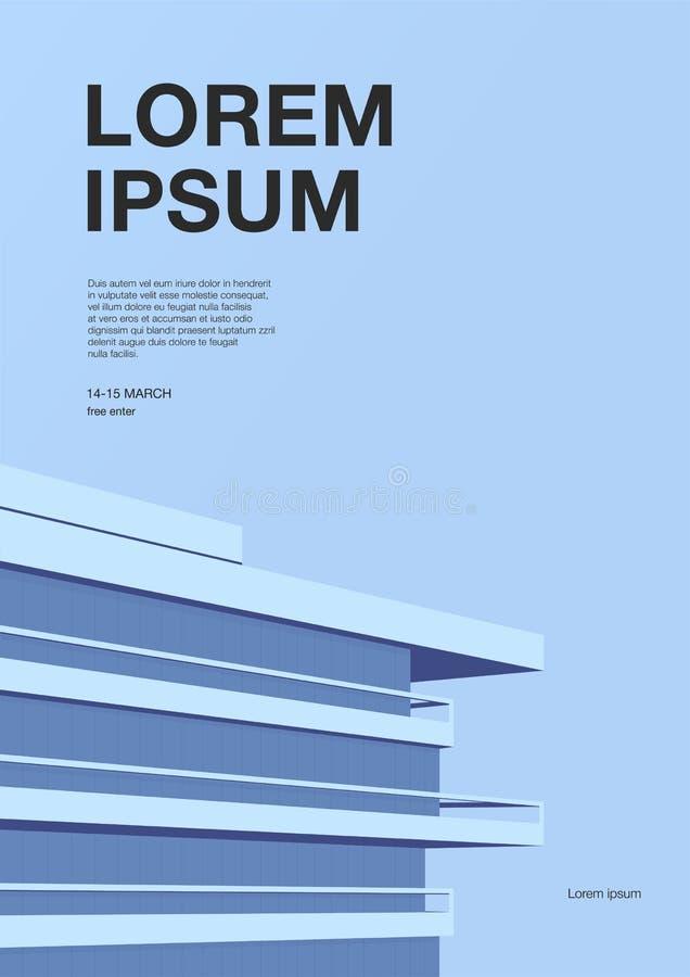 Advertizingaffisch med abstrakt arkitektur Blå bakgrund med skyskrapataket Vertikalt plakat med stället för royaltyfri illustrationer