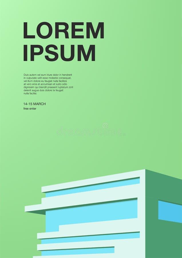 Advertizingaffisch med abstrakt arkitektur Grön bakgrund med byggnad Vertikalt plakat med stället för text stock illustrationer