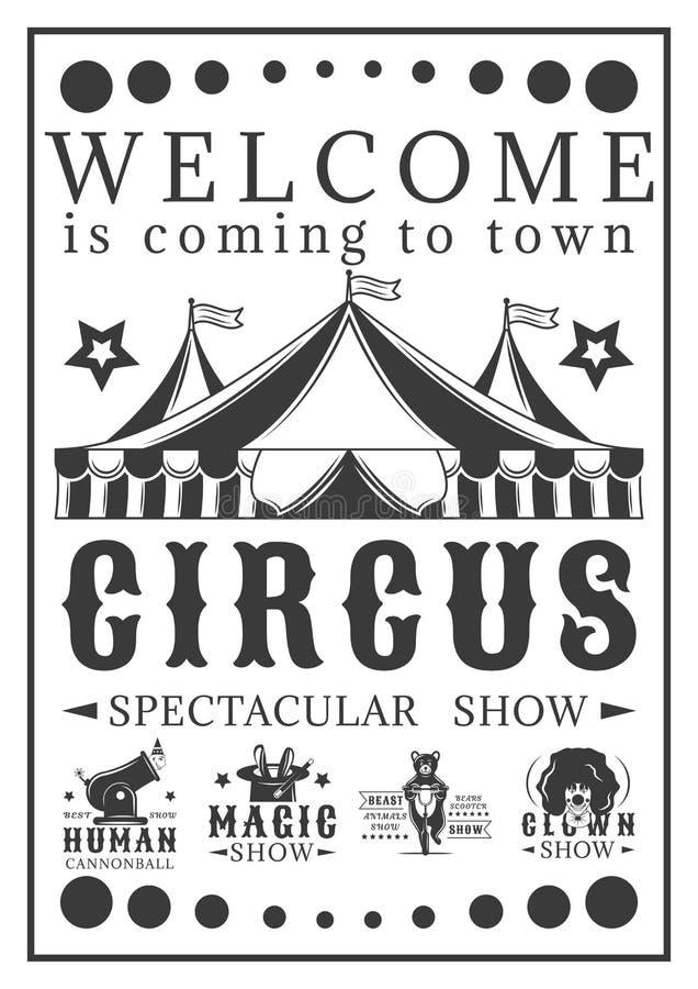 Advertizingaffischinbjudan till cirkusen Tappningvektorillustration royaltyfria bilder