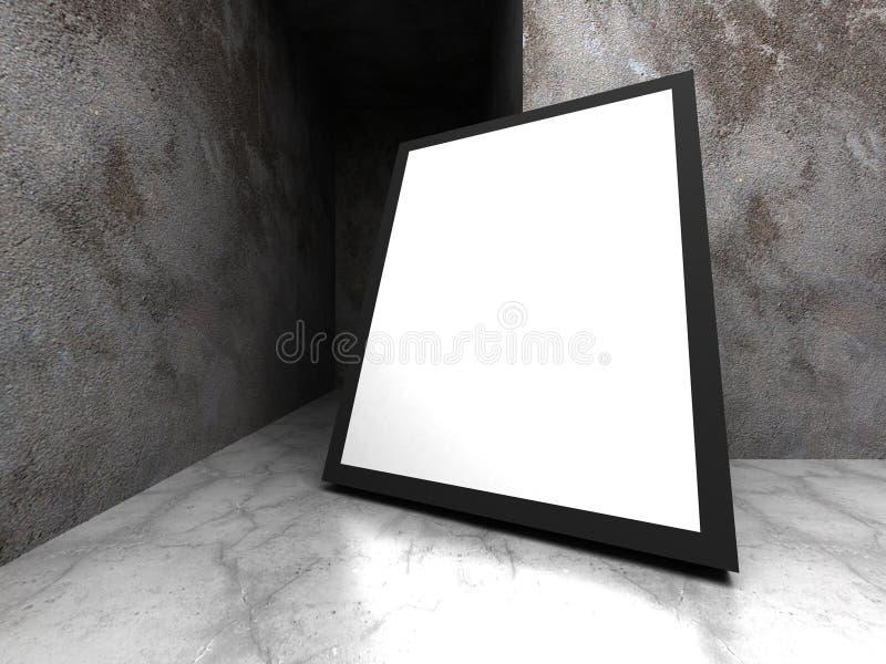 Download Advertizingaffischtavla I Mörkt Betongväggrum Stock Illustrationer - Illustration av cement, utbildning: 78728970