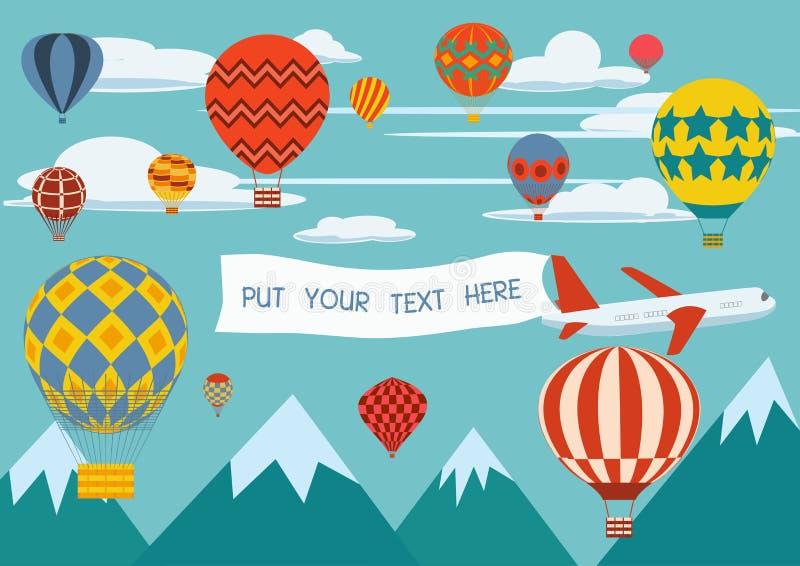 Advertizingbaner drog vid en nivå med ballonger för varm luft som omkring flyger royaltyfri illustrationer