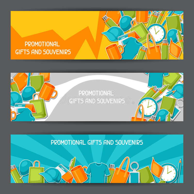 Advertizingbaner med befordrings- gåvor och souvenir vektor illustrationer