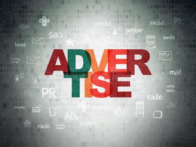 Advertizingbegrepp: Annonsera på pappersbakgrund för Digitala data vektor illustrationer