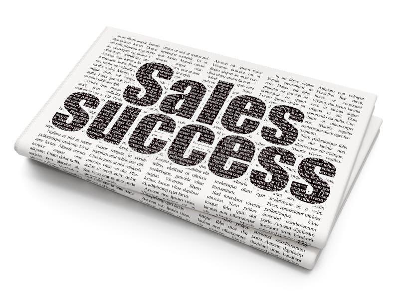 Advertizingbegrepp: Försäljningsframgång på tidningsbakgrund arkivbilder