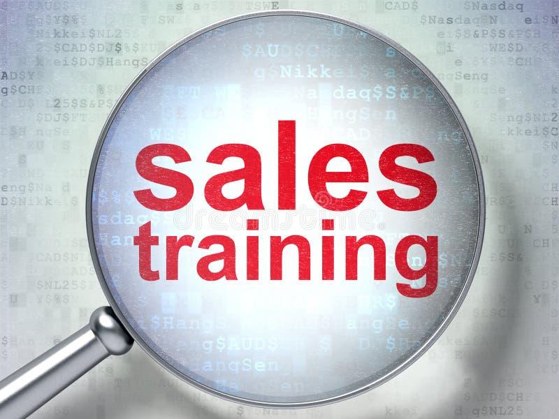 Advertizingbegrepp: Försäljningsutbildning med optiskt exponeringsglas arkivfoto