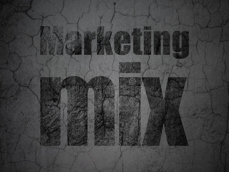 Advertizingbegrepp: Marknadsföra blandningen på grungeväggbakgrund vektor illustrationer