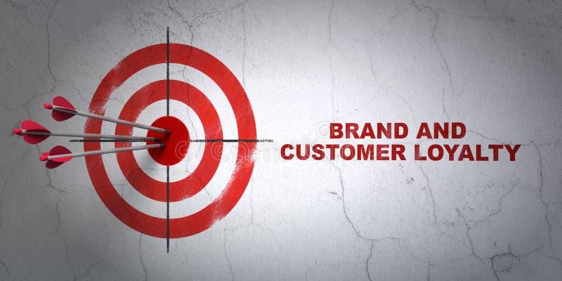 Advertizingbegrepp: uppsätta som mål och brännmärka och kundlojalitet på väggbakgrund stock illustrationer
