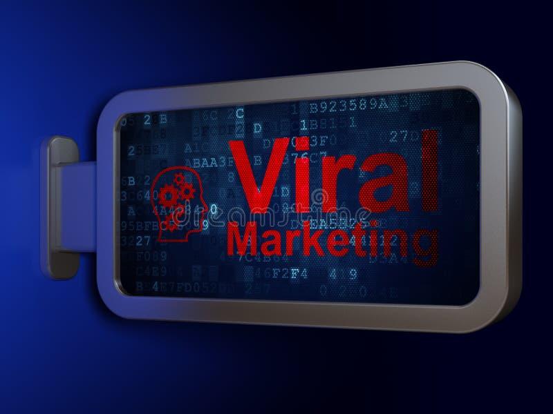 Advertizingbegrepp: Virus- marknadsföring och huvud med kugghjul på affischtavlabakgrund royaltyfri fotografi