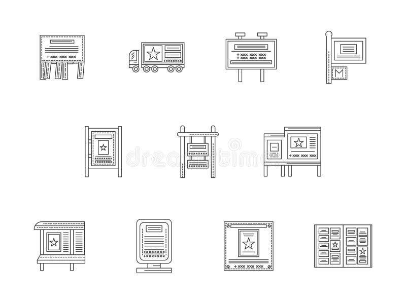 Advertizingbeståndsdellinje lägenhetsymbolsuppsättning vektor illustrationer