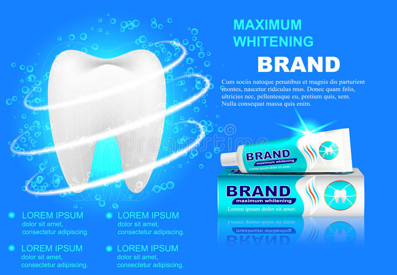Advertizingblekmedeltandkräm, mousserande vita tänder royaltyfri illustrationer