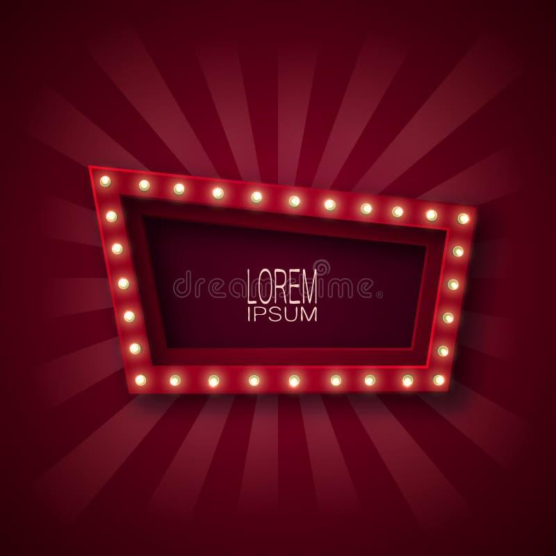 Advertizingskylt för tilldragning av kunder En fyrkant med ljusa kulor längs en kontur, i rött och vitt ljus På en bordeaux stock illustrationer