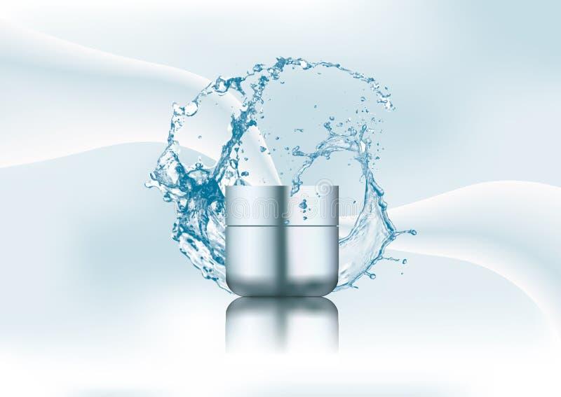 Advertizingtidskriftsida, färgstänk av vatten, tom realistisk blå plast-krämkrus Kosmetisk skönhetsproduktpacke vektor illustrationer