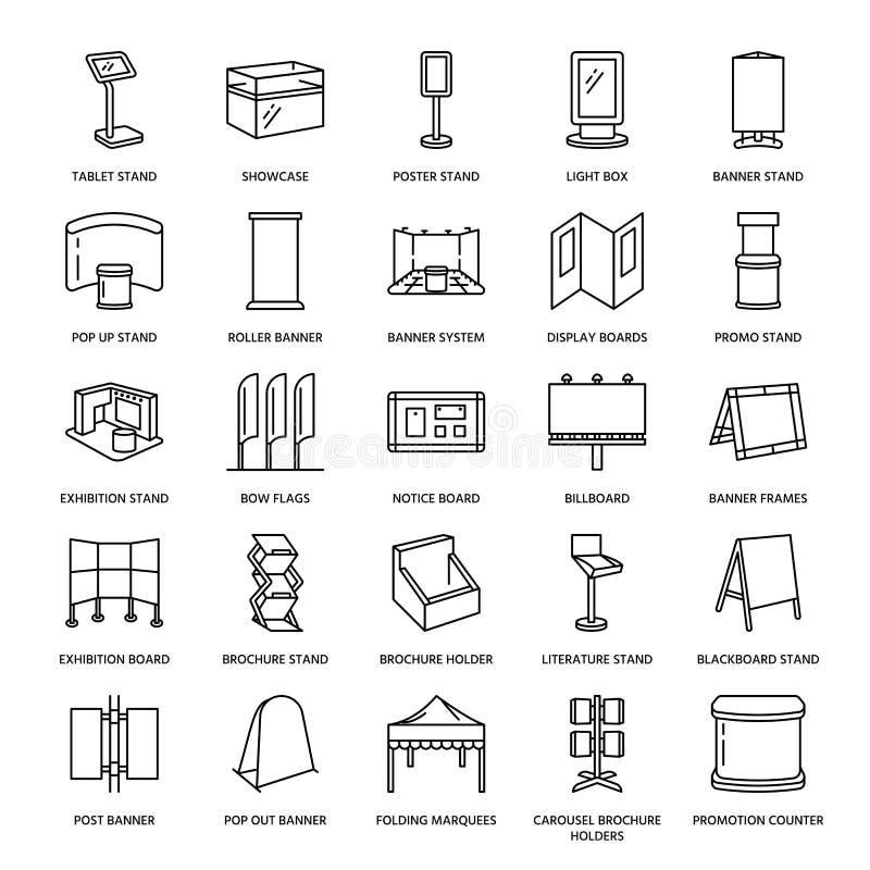 Advertizingutställningbanret står, skärmlinjen symboler Broschyrhållare, poppar upp bräden, pilbågeflaggan, affischtavlavikning stock illustrationer