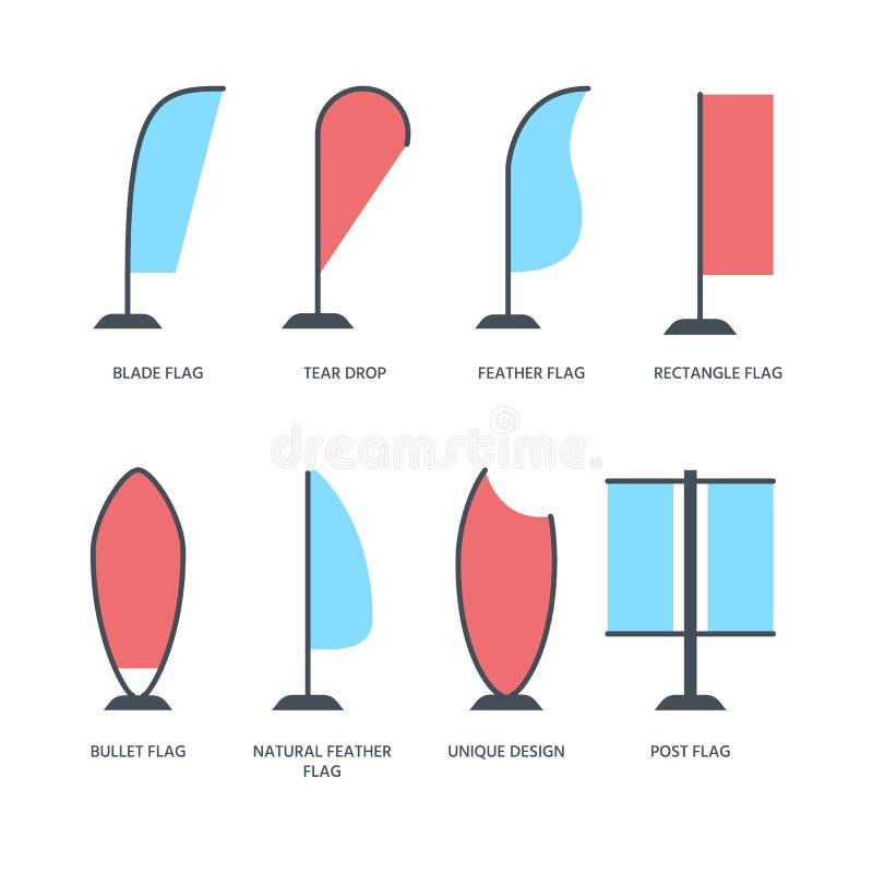 Advertizingutställningpilbågen sjunker, plana symboler för befordrandesignbeståndsdelar Olika formtyper - riv droppe, blad stock illustrationer