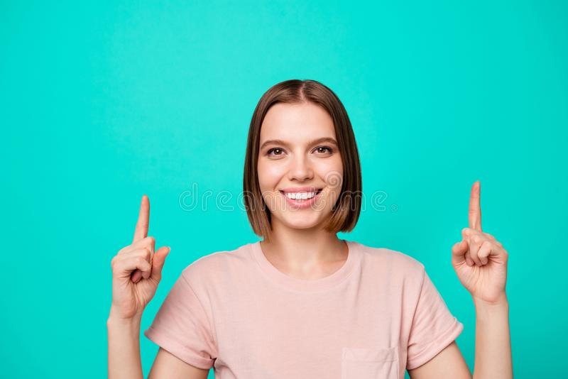 Adverts discount concept. Portrait of cute lady decide advise choose tips feedback information news pick notice way. Present display novelties wear beautiful royalty free stock image