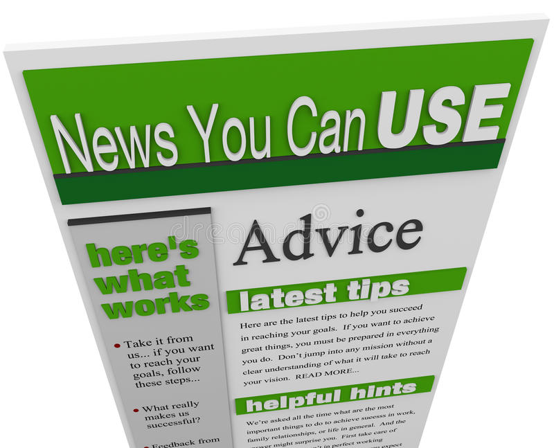 Advice eNewsletter Tips Hints Support Ideas Newsletter. An enewsletter of advice, tips hints and helpful information sent to your email inbox stock illustration