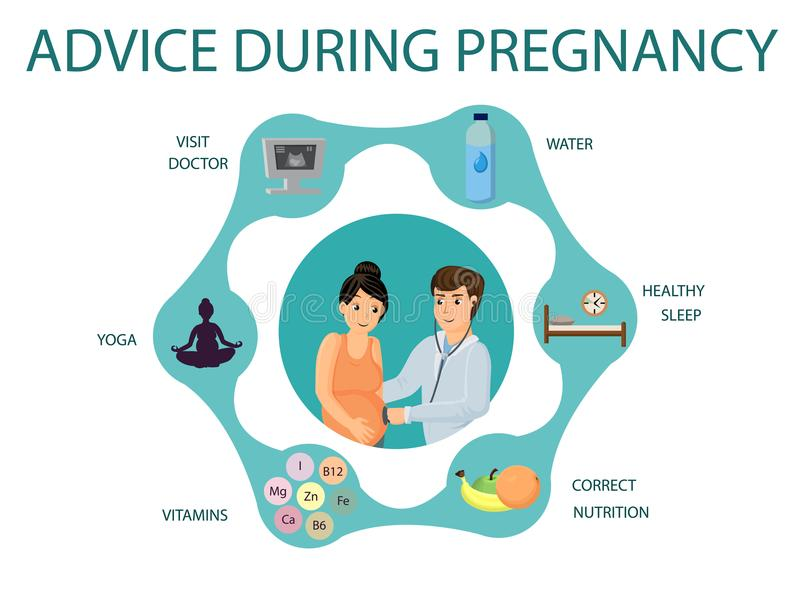 Advice during pregnancy. Vector image. stock illustration