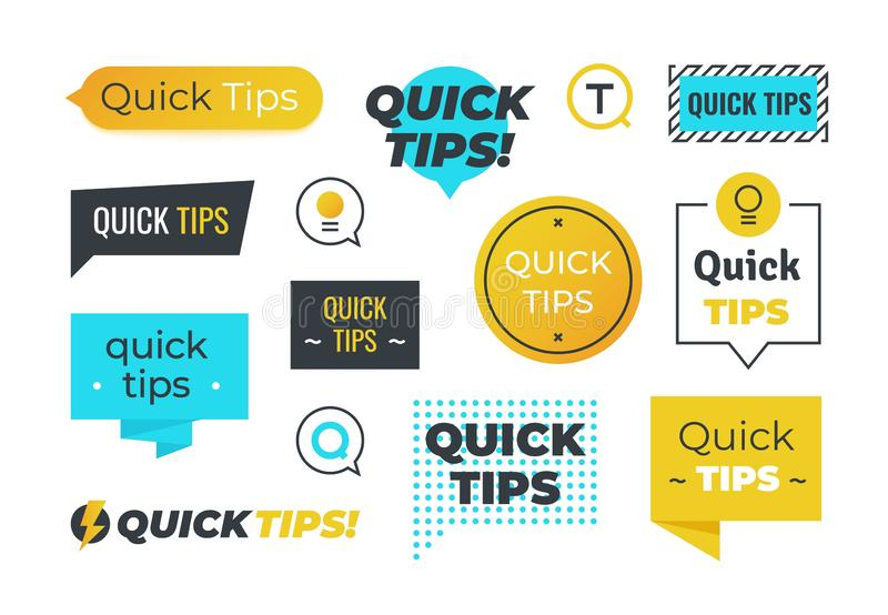 Advice shapes. Quick tips helpful tricks emblems and logos, tip reminder banner design. Vector set of helpful advices stock illustration