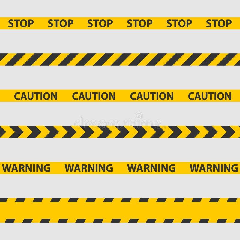 Advierta la cinta, la línea de policía y las cintas del peligro imágenes de archivo libres de regalías
