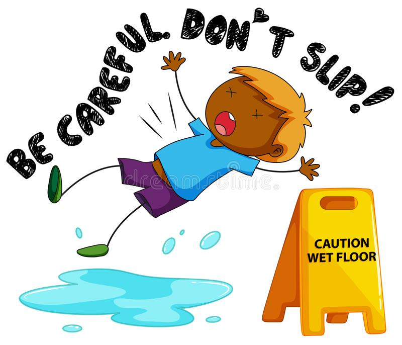 Advierta la muestra para el piso mojado con caer del muchacho libre illustration